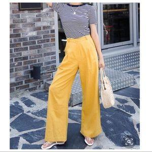 Gorgeous Linen blend wide leg side pockets pants